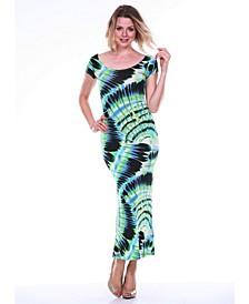 Women's Tie Dye Cut-Out Back Maxi Dress