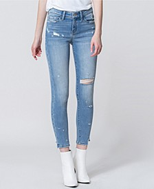 Mid Rise Distressed Broken Hem Crop Skinny Jeans