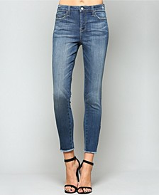Mid Rise Ankle Skinny Jeans with Side Zipper