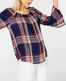 BCX Plaid Off-The-Shoulder Top