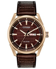 Drive From Eco-Drive Men's Brown Leather Strap Watch 42mm
