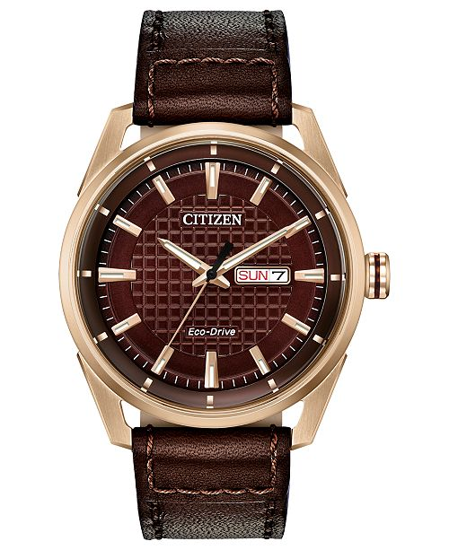 Citizen Drive From Eco-Drive Men's Brown Leather Strap Watch 42mm