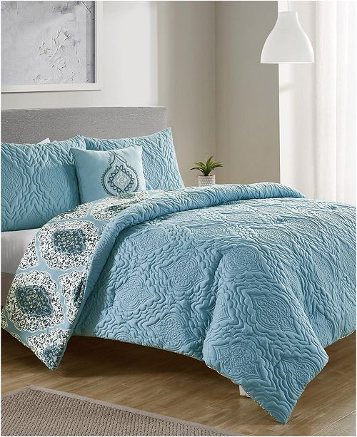 VCNY Home Luanna 4-Pc. Full/Queen Reversible Comforter Set