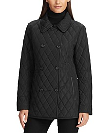 Double-Breasted Faux-Leather Quilted Jacket