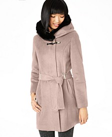 Belted Asymmetrical Coat with Faux-Fur Hood