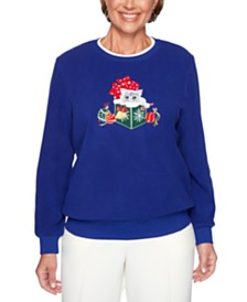 Alfred Dunner Classics  Holiday-Kitten Graphic Sweatshirt