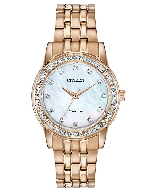 Citizen Eco-Drive Women's Silhouette Rose Gold-Tone Stainless Steel Bracelet Watch 31mm