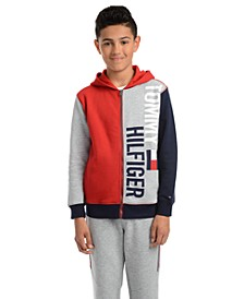 Big Boys Lawrence Colorblocked Full-Zip Fleece Logo Hoodie