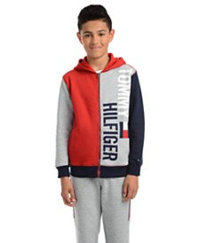 Tommy Hilfiger Big Boys Lawrence Colorblocked Full-Zip Fleece Logo Hoodie