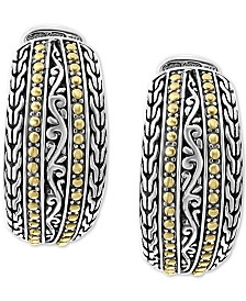 EFFY® Weave-Style Huggie Hoop Earrings in Sterling Silver & 18k Gold