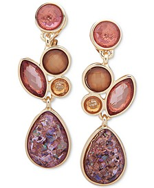 Gold-Tone Stone Cluster Clip-On Drop Earrings