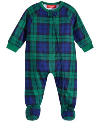 Matching Baby Black Watch Plaid Footed Pajamas, Created For Macy's