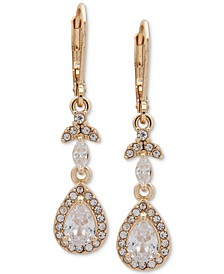 Gold-Tone Crystal Teardrop Chandelier Earrings