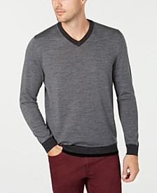 Men's Merino V-Neck Solid Sweater, Created for Macy's