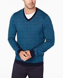 Men's Merino Wool Blend V-Neck Herringbone Sweater, Created for Macy's