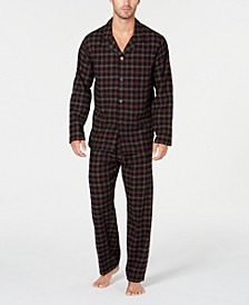 Men's Black Plaid Flannel Pajamas, Created for Macy's