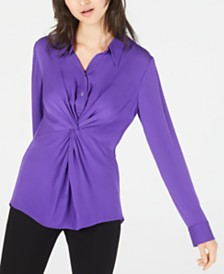 Elie Tahari Mary Jane Twisted Silk Blouse