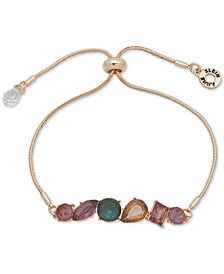 Gold-Tone Multi-Stone Bolo Bracelet