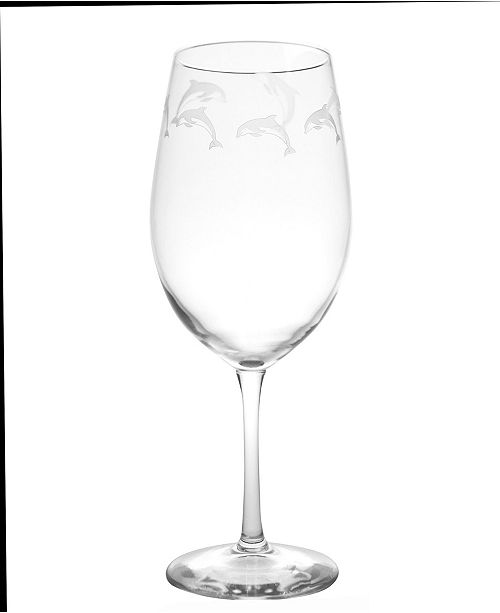 Rolf Glass School Of Dolphins All Purpose Wine Glass 18 oz - Set Of 4