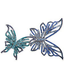 Anne Klein Silver-Tone 2-Pc. Set Pavé Butterfly Pins, Created for Macy's