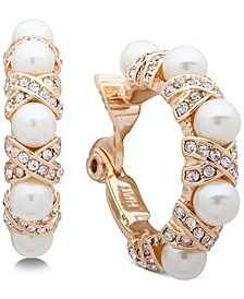 "Small Gold-Tone Pavé & Bead Crisscross E-Z Clip-On Hoop Earrings 1"""