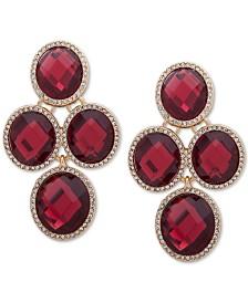 Anne Klein Gold-Tone Pavé & Oval Stone Clip-On Chandelier Earrings