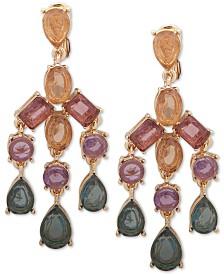 Anne Klein Gold-Tone Multi-Stone E-Z Comfort Clip-On Chandelier Earrings