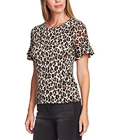 Leopard Print Flutter Sleeve Blouse