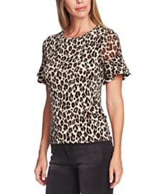 Vince Camuto Leopard Print Flutter Sleeve Blouse