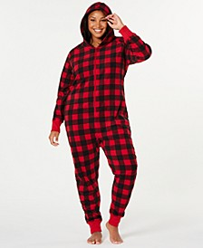 Matching Plus Size Buffalo-Check Hooded Pajamas, Created for Macy's