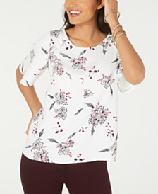 Alfani Petite Printed Ruffle-Trim Top, Created for Macy's
