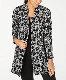 Petite Jacquard Open-Front Jacket, Created for Macy's