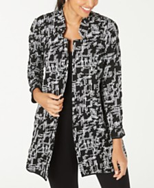 Alfani Petite Jacquard Open-Front Jacket, Created for Macy's