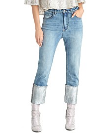 RACHEL Rachel Roy Juniors' Straight-Leg Metallic High Rise Cuffed Jeans