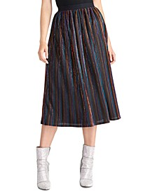 Juniors' Metallic-Striped Midi Skirt