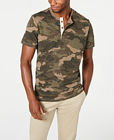 Men's Camo Short-Sleeve Henley, Created for Macy's