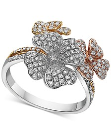 EFFY® Diamond Tri-Tone Flower Ring in 14k Gold (5/8 ct. t.w.)
