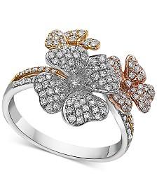 EFFY® Diamond Tri-Tone Flower Ring in 14k Gold (5/8 ct. t.w.)