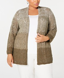 Alfred Dunner Plus Size Cedar Canyon Pointelle Open-Front Cardigan