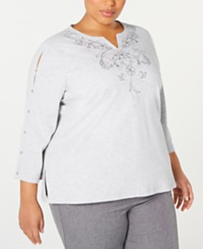 Alfred Dunner Plus Size Boardroom Embroidered Slit-Sleeve Top