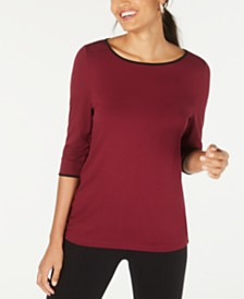 Alfani Piped 3/4-Sleeve T-Shirt, Created for Macy's