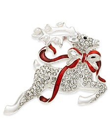 Silver-Tone Crystal Flying Reindeer Pin, Created for Macy's