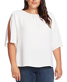 Plus Size Slit-Sleeve Top