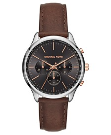 Men's Chronograph Sutter Chocolate Leather Strap Watch 42mm