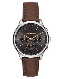 Michael Kors Men's Chronograph Sutter Chocolate Leather Strap Watch 42mm