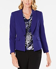 Kasper Single-Button Notched-Lapel Blazer