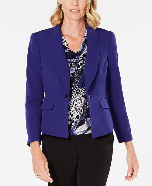 Kasper Petite Notch Collar Crepe Jacket