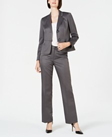 Le Suit Petite Pinstripe Two-Button Pant Suit