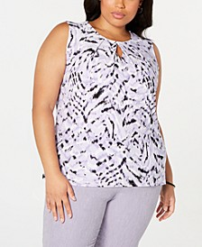 Plus Size Printed Keyhole Top