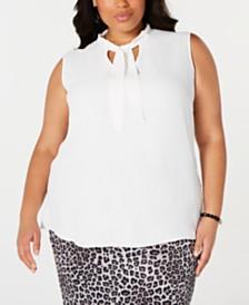 Kasper Plus Size Tie-Neck Crepe Blouse